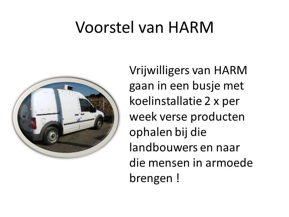 Voorstel van HARM Vrijwilligers van HARM gaan in een busje met koelinstallatie 2 x per week verse producten ophalen bij die landbouwers en naar die mensen in armoede brengen !