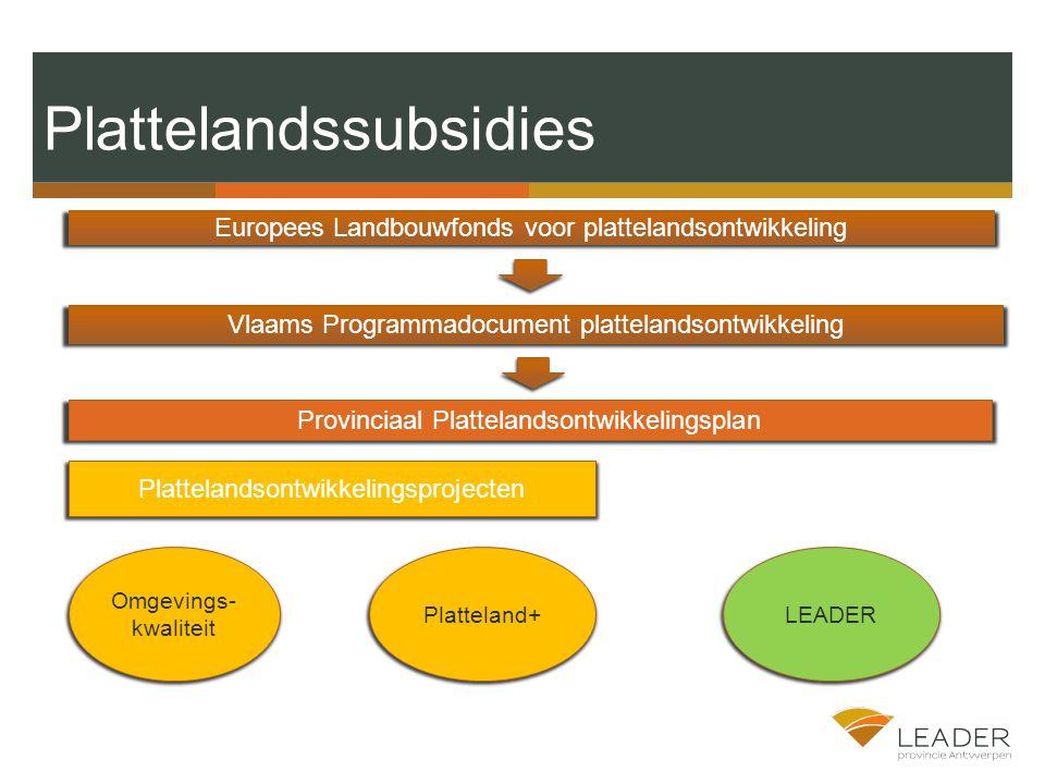 Plattelandssubsidies Provinciaal Plattelandsontwikkelingsplan Vlaams Programmadocument plattelandsontwikkeling Europees Landbouwfonds voor plattelandsontwikkeling Omgevings- kwaliteit Platteland+LEADER Plattelandsontwikkelingsprojecten