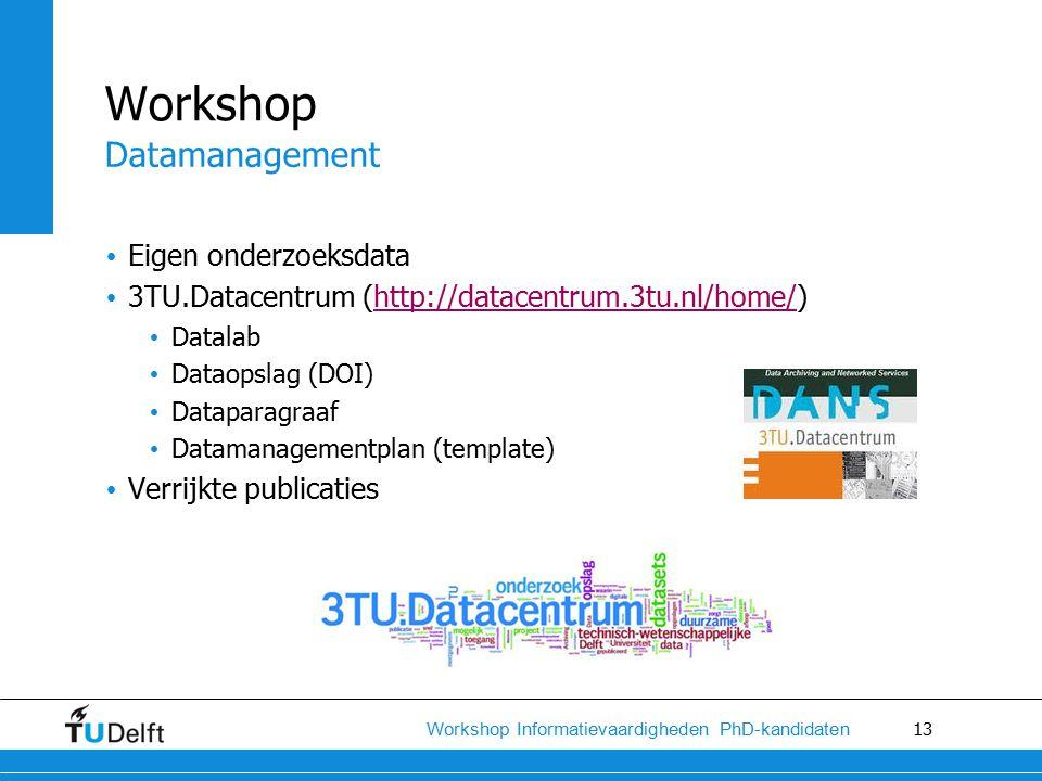 13 Workshop Informatievaardigheden PhD-kandidaten Eigen onderzoeksdata 3TU.Datacentrum (http://datacentrum.3tu.nl/home/)http://datacentrum.3tu.nl/home/ Datalab Dataopslag (DOI) Dataparagraaf Datamanagementplan (template) Verrijkte publicaties Workshop Datamanagement