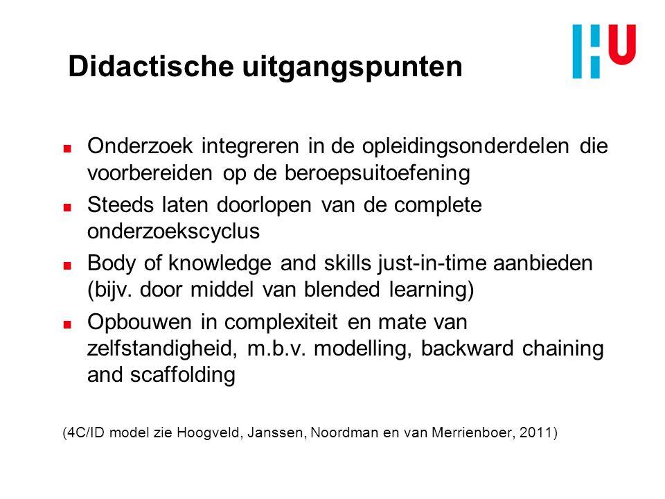 Didactische uitgangspunten n Onderzoek integreren in de opleidingsonderdelen die voorbereiden op de beroepsuitoefening n Steeds laten doorlopen van de complete onderzoekscyclus n Body of knowledge and skills just-in-time aanbieden (bijv.