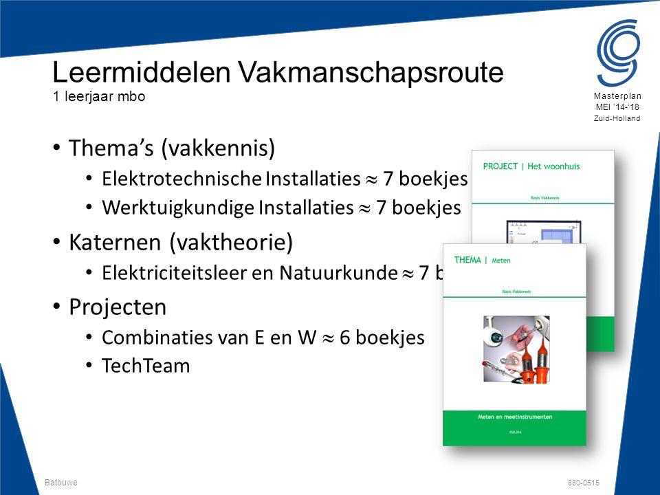 Batouwe 880-0515 Masterplan MEI '14-'18 Zuid-Holland Thema's (vakkennis) Elektrotechnische Installaties  7 boekjes Werktuigkundige Installaties  7 b