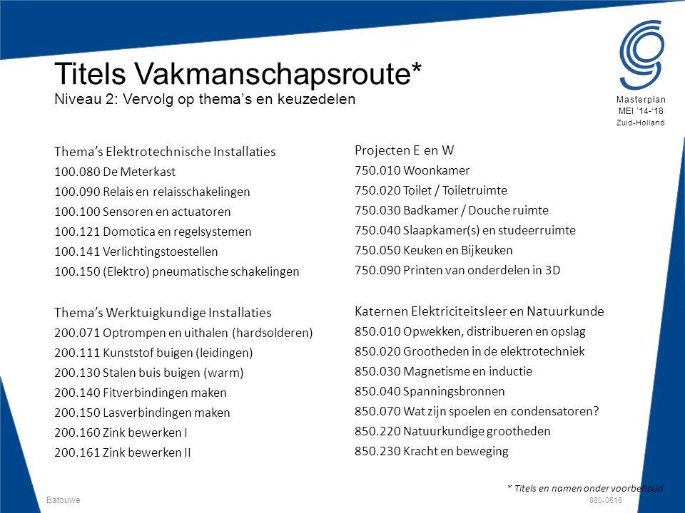 Batouwe 880-0515 Masterplan MEI '14-'18 Zuid-Holland Thema's Elektrotechnische Installaties 100.080 De Meterkast 100.090 Relais en relaisschakelingen