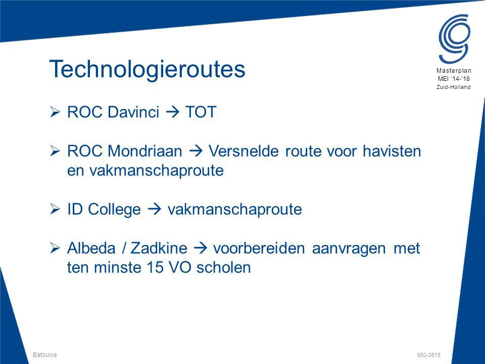 Batouwe 880-0515 Masterplan MEI '14-'18 Zuid-Holland Technologieroutes  ROC Davinci  TOT  ROC Mondriaan  Versnelde route voor havisten en vakmansc