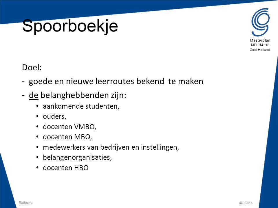 Batouwe 880-0515 Masterplan MEI '14-'18 Zuid-Holland Spoorboekje Doel: -goede en nieuwe leerroutes bekend te maken -de belanghebbenden zijn: aankomend