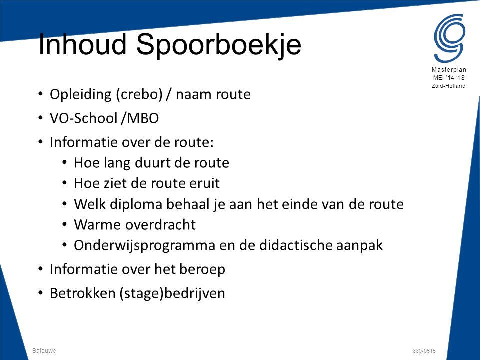 Batouwe 880-0515 Masterplan MEI '14-'18 Zuid-Holland Inhoud Spoorboekje Opleiding (crebo) / naam route VO-School /MBO Informatie over de route: Hoe la