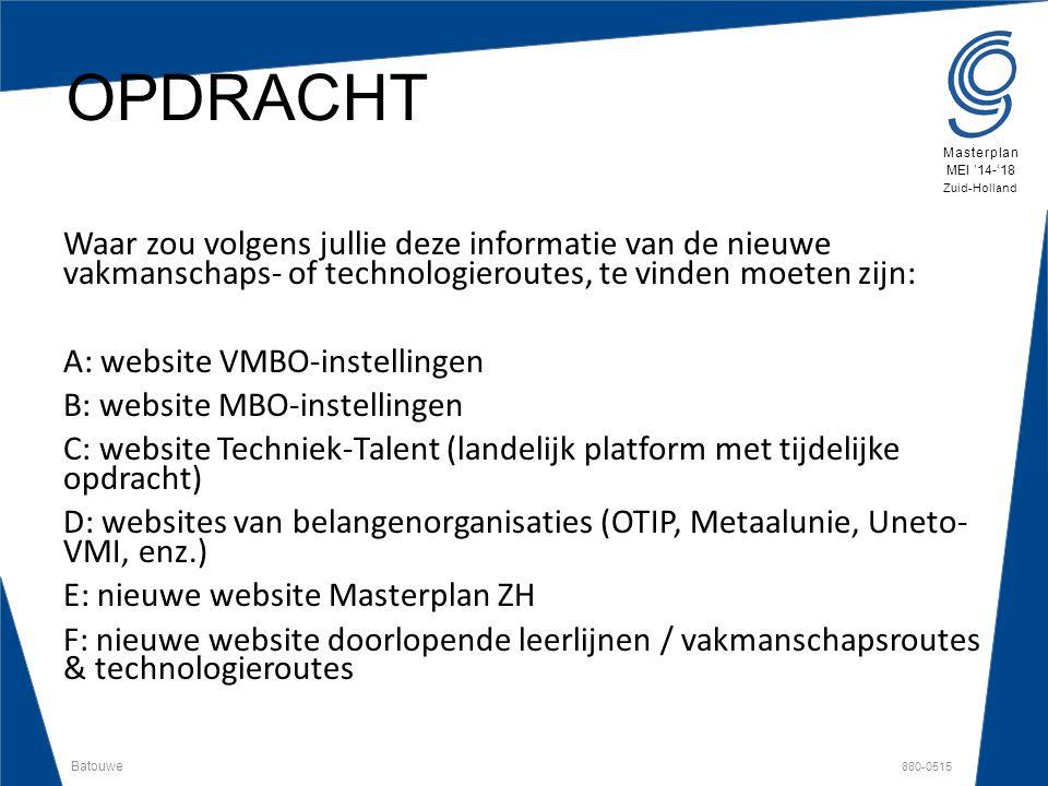 Batouwe 880-0515 Masterplan MEI '14-'18 Zuid-Holland OPDRACHT Waar zou volgens jullie deze informatie van de nieuwe vakmanschaps- of technologieroutes