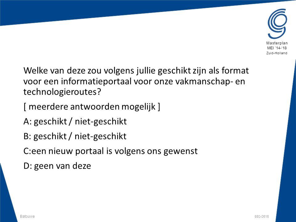Batouwe 880-0515 Masterplan MEI '14-'18 Zuid-Holland Welke van deze zou volgens jullie geschikt zijn als format voor een informatieportaal voor onze v