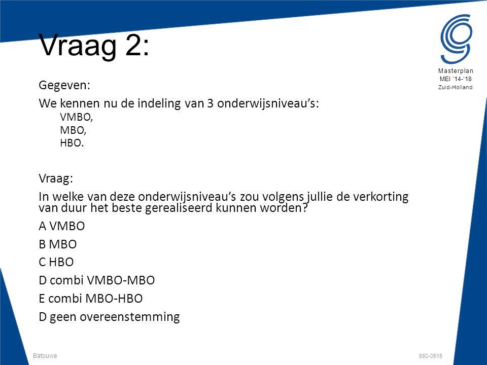 Batouwe 880-0515 Masterplan MEI '14-'18 Zuid-Holland Vraag 2: Gegeven: We kennen nu de indeling van 3 onderwijsniveau's: VMBO, MBO, HBO. Vraag: In wel