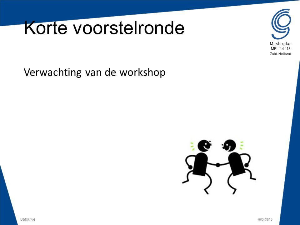 Batouwe 880-0515 Masterplan MEI '14-'18 Zuid-Holland Bespreekpunten  Doelen en beoogde resultaten  Voorbeeld uitwerking vakmanschaproute -Regioprofiel  Profielvak en keuzevakken -Regioprofiel  vmbo programma -Regioprofiel  Leermaterialen van Techniekplaza  Technologieroute  Spoorboekje
