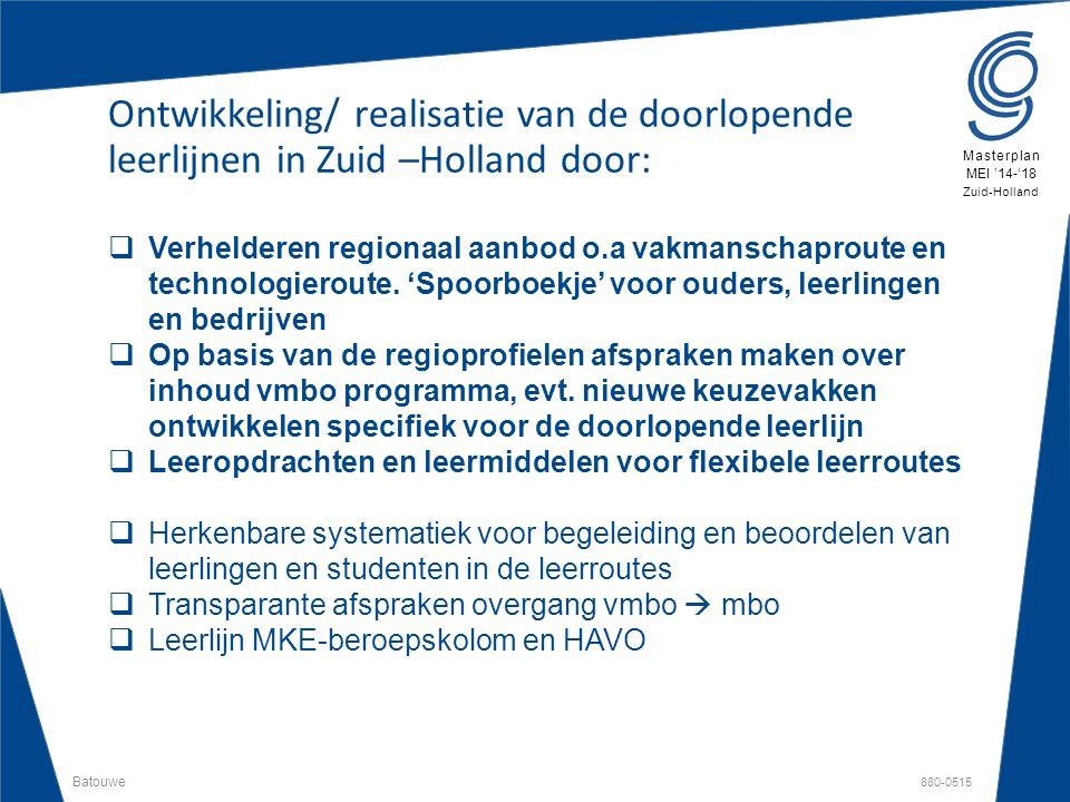 Batouwe 880-0515 Masterplan MEI '14-'18 Zuid-Holland Ontwikkeling/ realisatie van de doorlopende leerlijnen in Zuid –Holland door:  Verhelderen regio