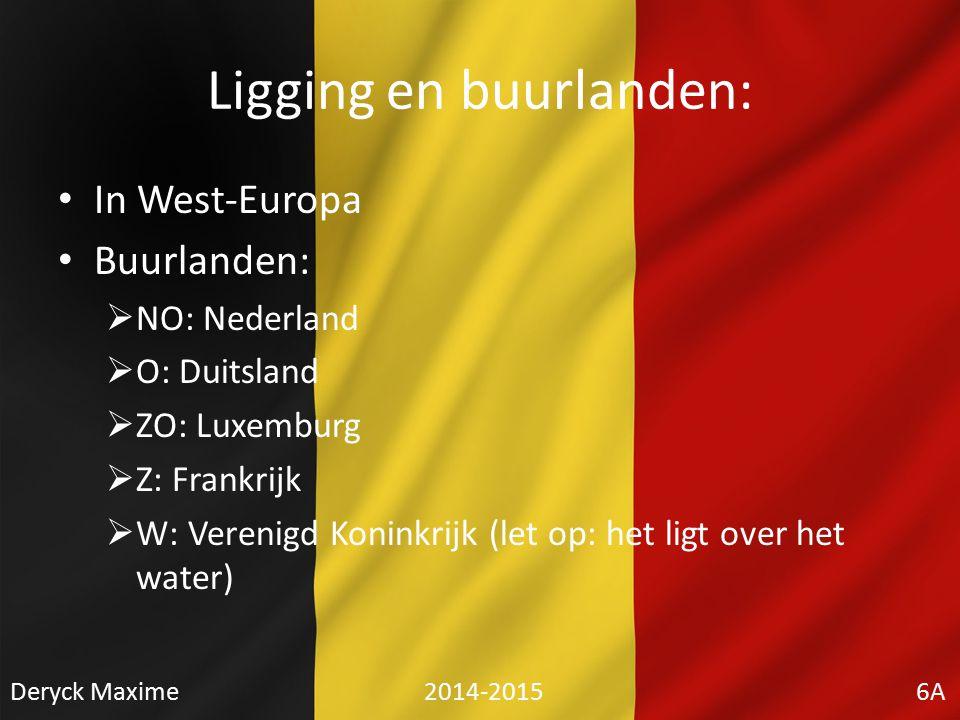 Ligging en buurlanden: In West-Europa Buurlanden:  NO: Nederland  O: Duitsland  ZO: Luxemburg  Z: Frankrijk  W: Verenigd Koninkrijk (let op: het