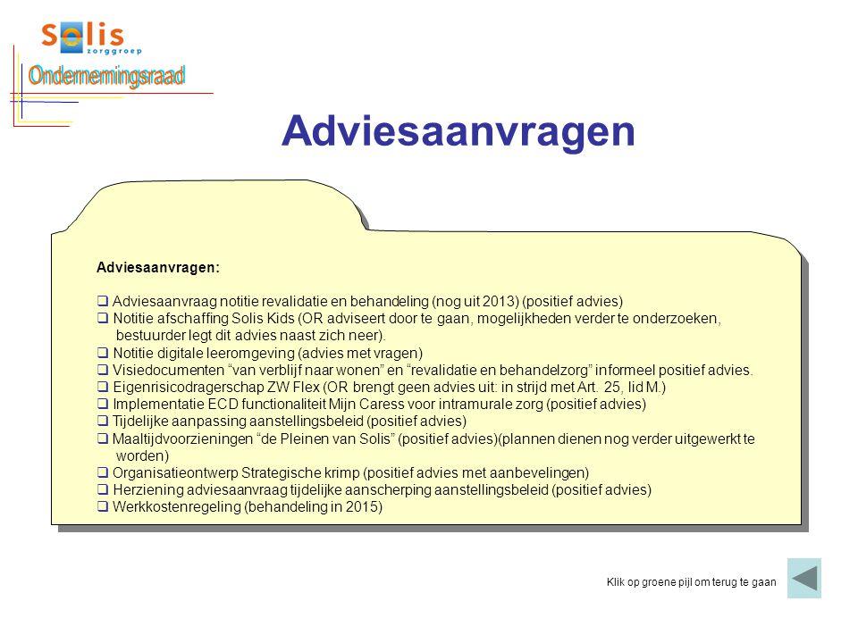 Adviesaanvragen Klik op groene pijl om terug te gaan Adviesaanvragen:  Adviesaanvraag notitie revalidatie en behandeling (nog uit 2013) (positief adv