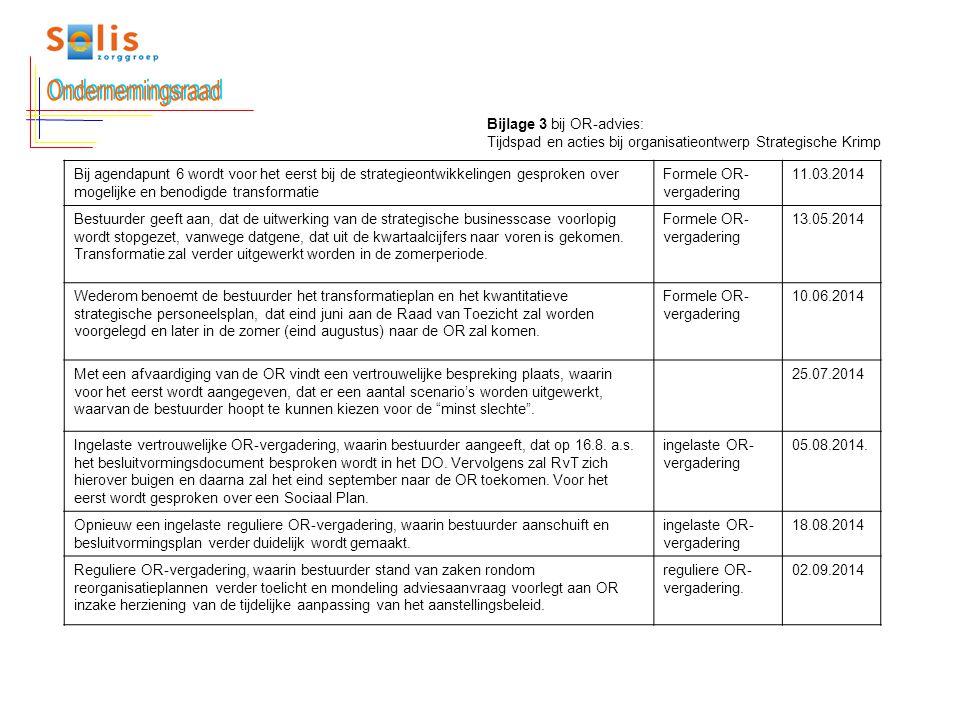 Bijlage 3 bij OR-advies: Tijdspad en acties bij organisatieontwerp Strategische Krimp Bij agendapunt 6 wordt voor het eerst bij de strategieontwikkeli