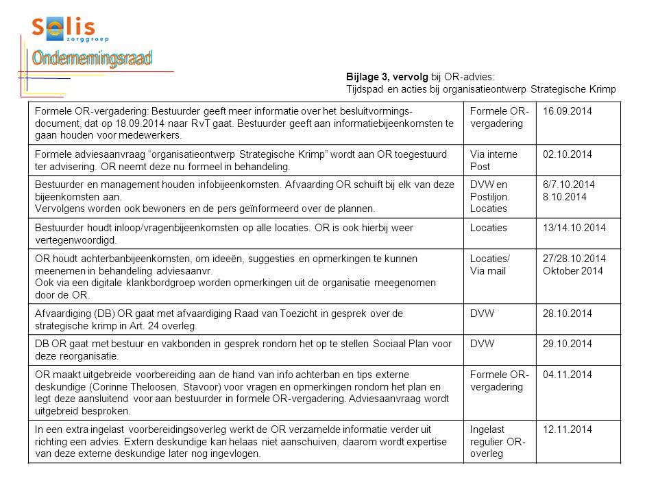 Formele OR-vergadering: Bestuurder geeft meer informatie over het besluitvormings- document, dat op 18.09.2014 naar RvT gaat. Bestuurder geeft aan inf