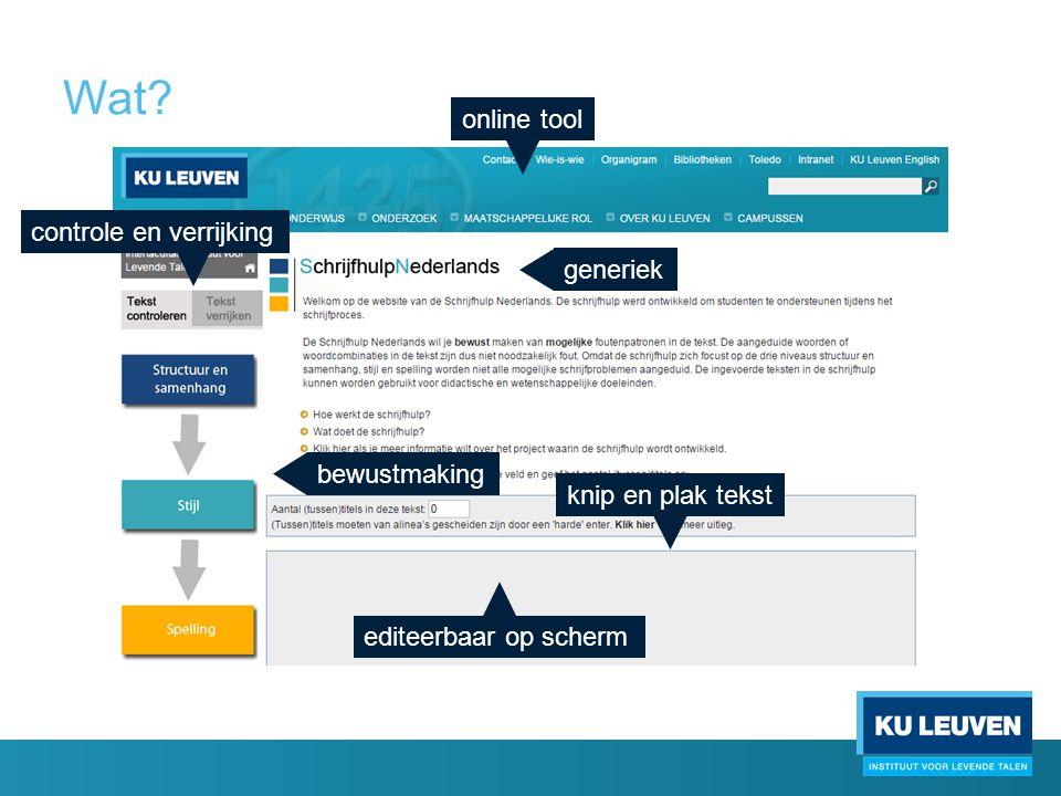 Wat? online tool generiek controle en verrijking bewustmaking knip en plak tekst editeerbaar op scherm