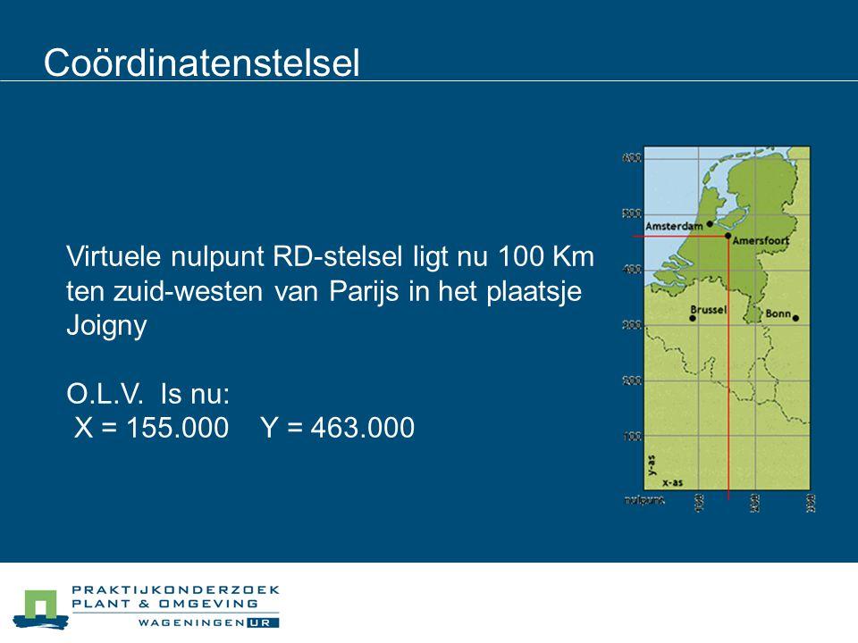 Coördinatenstelsel Virtuele nulpunt RD-stelsel ligt nu 100 Km ten zuid-westen van Parijs in het plaatsje Joigny O.L.V. Is nu: X = 155.000 Y = 463.000