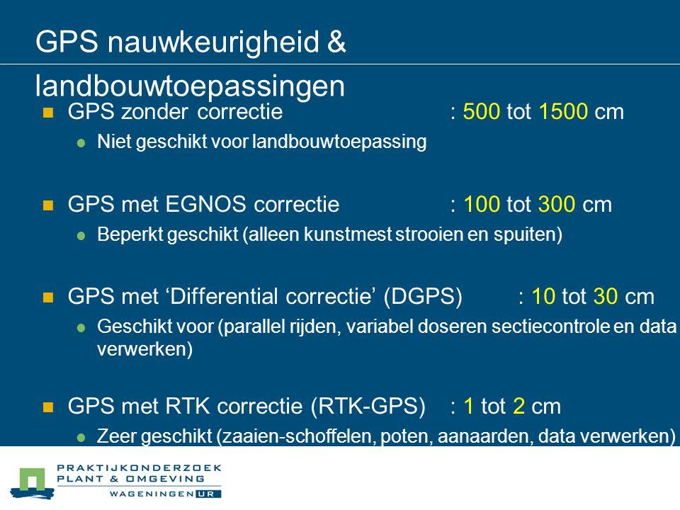 GPS nauwkeurigheid & landbouwtoepassingen GPS zonder correctie : 500 tot 1500 cm Niet geschikt voor landbouwtoepassing GPS met EGNOS correctie: 100 to