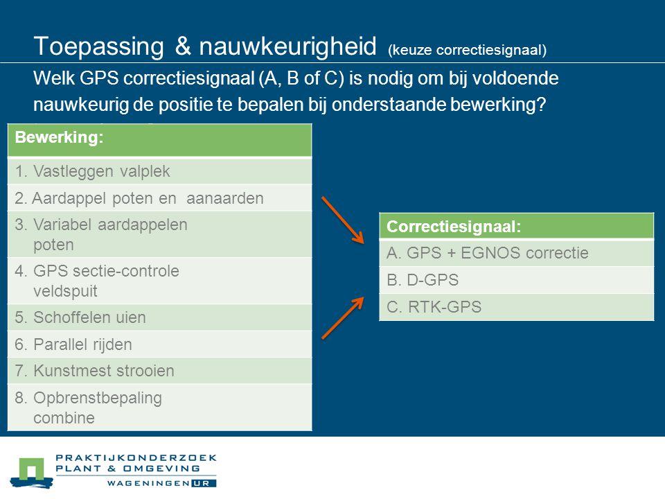 Toepassing & nauwkeurigheid (keuze correctiesignaal) Welk GPS correctiesignaal (A, B of C) is nodig om bij voldoende nauwkeurig de positie te bepalen