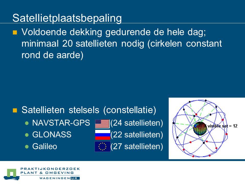 Satellietplaatsbepaling Voldoende dekking gedurende de hele dag; minimaal 20 satellieten nodig (cirkelen constant rond de aarde) Satellieten stelsels