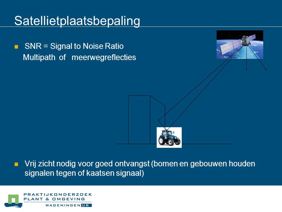 Satellietplaatsbepaling SNR = Signal to Noise Ratio Multipath of meerwegreflecties Vrij zicht nodig voor goed ontvangst (bomen en gebouwen houden sign