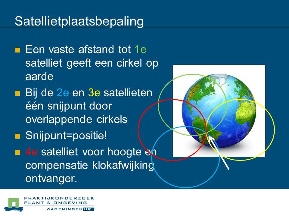 Satellietplaatsbepaling Een vaste afstand tot 1e satelliet geeft een cirkel op aarde Bij de 2e en 3e satellieten één snijpunt door overlappende cirkel