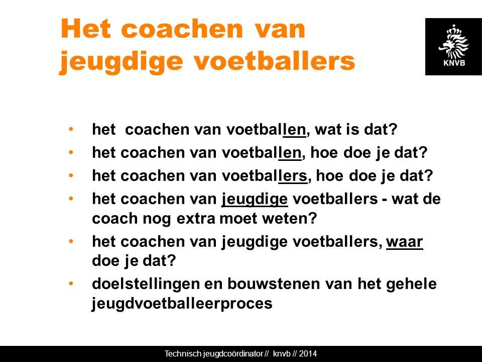 Technisch jeugdcoördinator // knvb // 2014 Het coachen van jeugdige voetballers het coachen van voetballen, wat is dat? het coachen van voetballen, ho