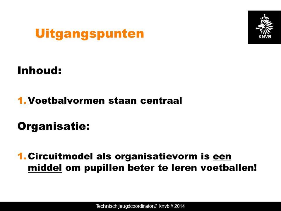 Technisch jeugdcoördinator // knvb // 2014 Uitgangspunten Inhoud: 1.Voetbalvormen staan centraal Organisatie: 1.Circuitmodel als organisatievorm is ee