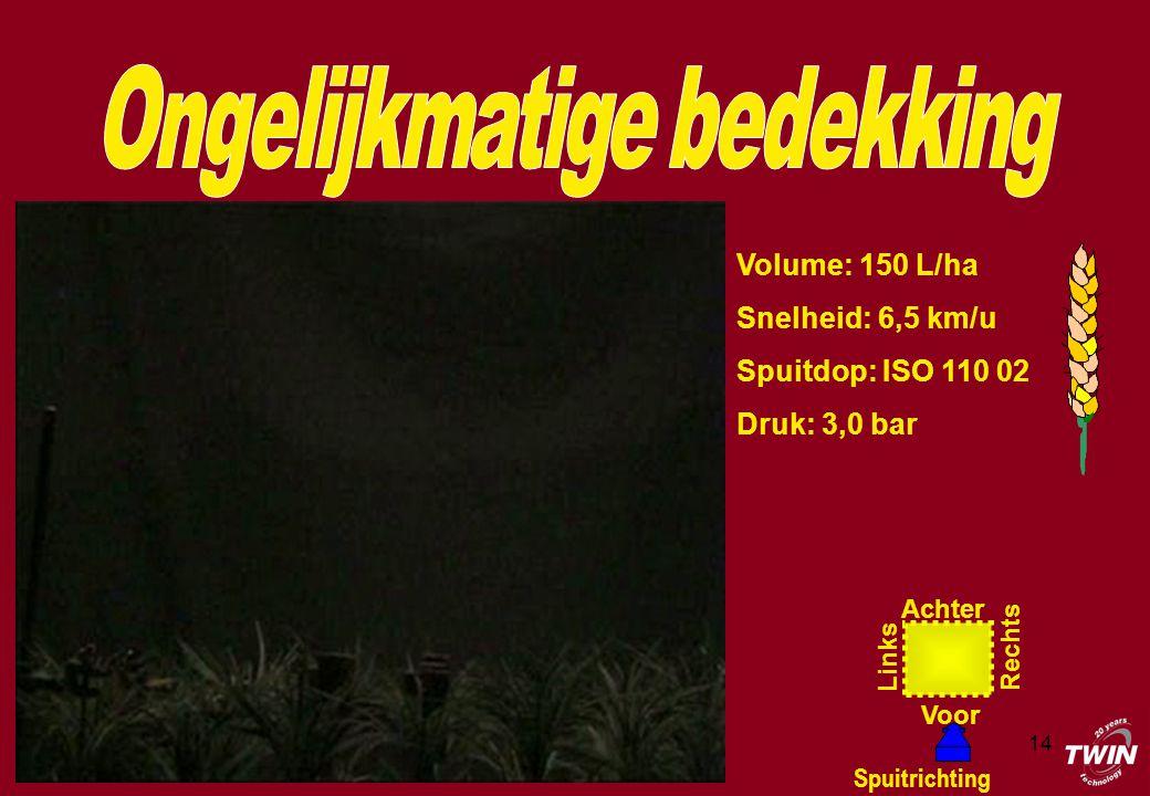 14 Volume: 150 L/ha Snelheid: 6,5 km/u Spuitdop: ISO 110 02 Druk: 3,0 bar Achter Voor Rechts Links Spuitrichting