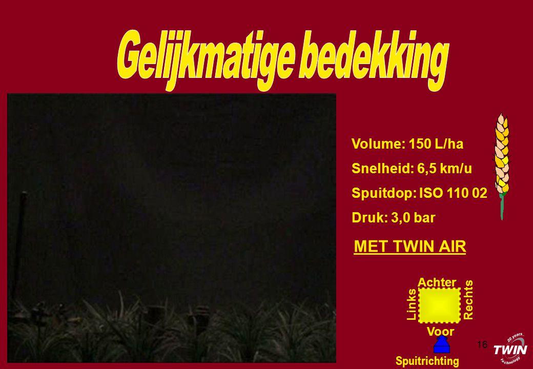 16 Volume: 150 L/ha Snelheid: 6,5 km/u Spuitdop: ISO 110 02 Druk: 3,0 bar Achter Voor Rechts Links Spuitrichting MET TWIN AIR