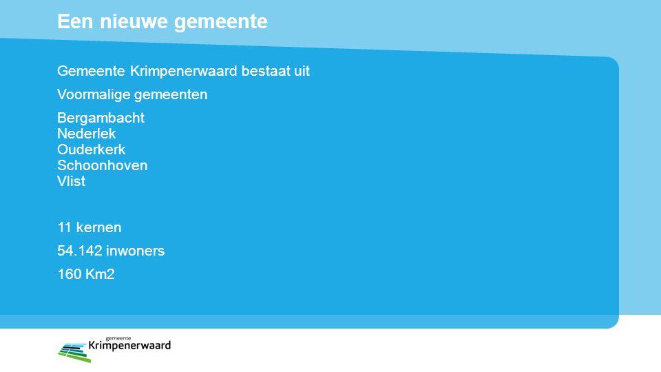 Een nieuwe gemeente Gemeente Krimpenerwaard bestaat uit Voormalige gemeenten Bergambacht Nederlek Ouderkerk Schoonhoven Vlist 11 kernen 54.142 inwoner