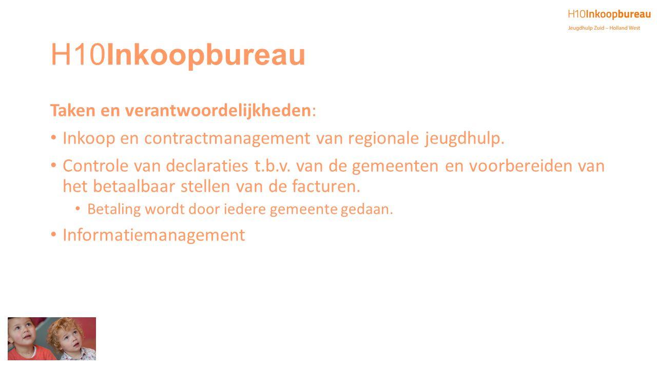 H10Inkoopbureau Taken en verantwoordelijkheden: Inkoop en contractmanagement van regionale jeugdhulp. Controle van declaraties t.b.v. van de gemeenten