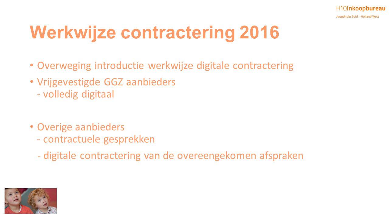 Werkwijze contractering 2016 Overweging introductie werkwijze digitale contractering Vrijgevestigde GGZ aanbieders - volledig digitaal Overige aanbied
