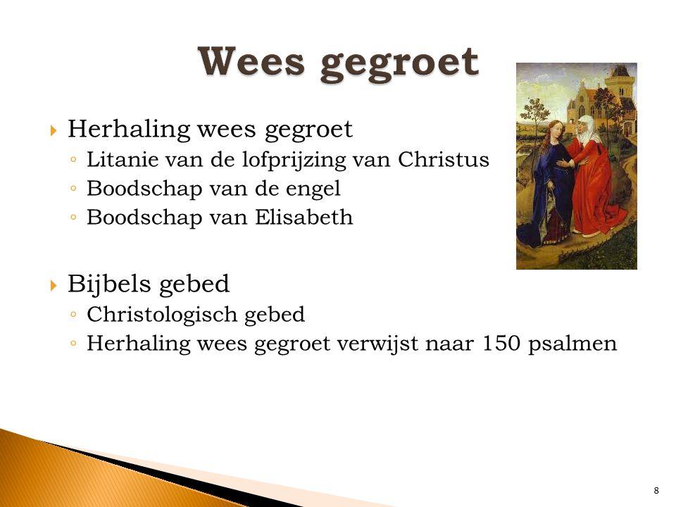  Herhaling wees gegroet ◦ Litanie van de lofprijzing van Christus ◦ Boodschap van de engel ◦ Boodschap van Elisabeth  Bijbels gebed ◦ Christologisch