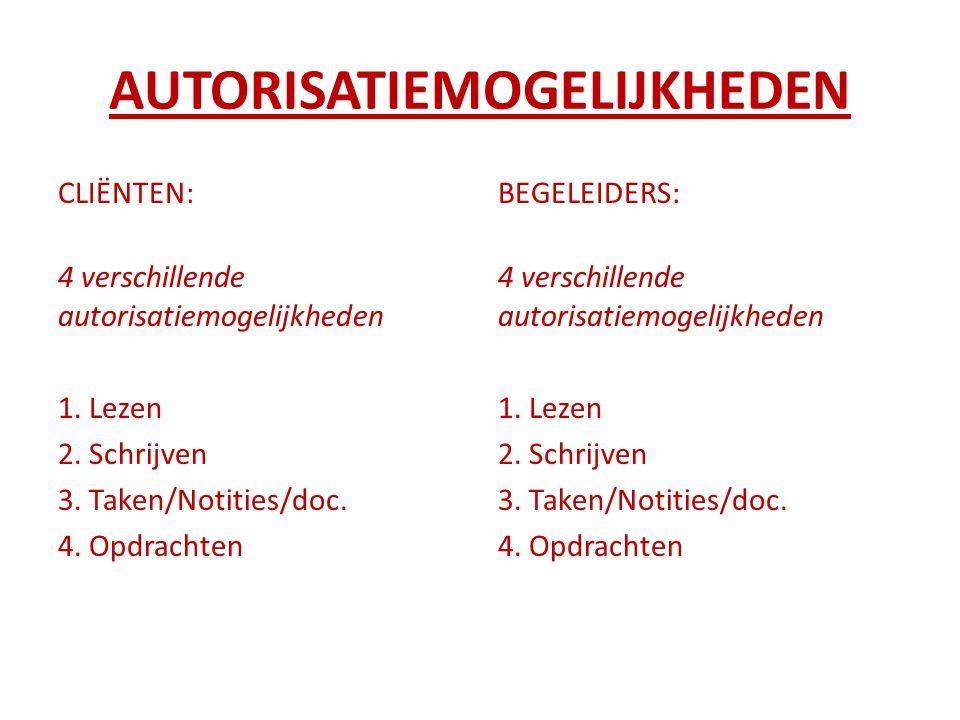 AUTORISATIEMOGELIJKHEDEN CLIËNTEN: 4 verschillende autorisatiemogelijkheden 1. Lezen 2. Schrijven 3. Taken/Notities/doc. 4. Opdrachten BEGELEIDERS: 4