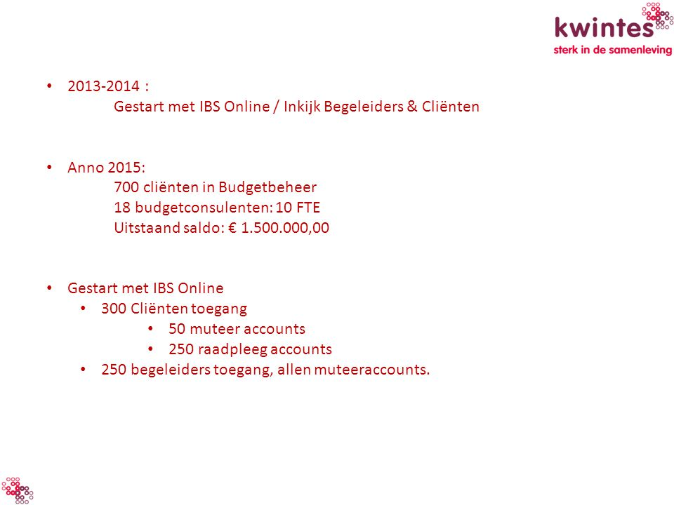 2013-2014 : Gestart met IBS Online / Inkijk Begeleiders & Cliënten Anno 2015: 700 cliënten in Budgetbeheer 18 budgetconsulenten: 10 FTE Uitstaand sald