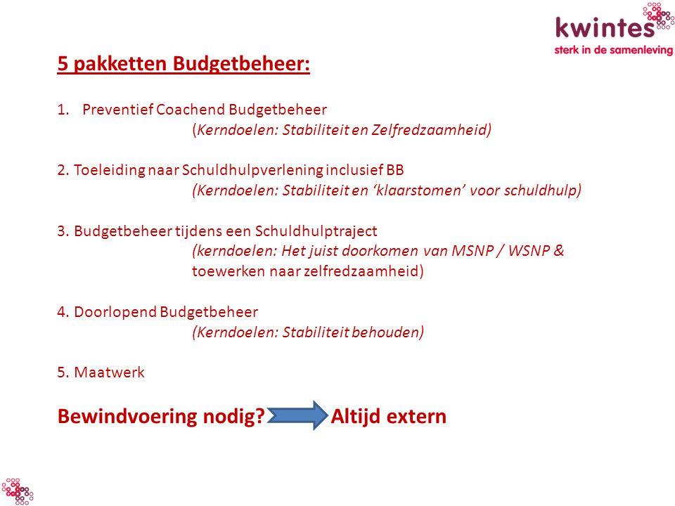 5 pakketten Budgetbeheer: 1.Preventief Coachend Budgetbeheer (Kerndoelen: Stabiliteit en Zelfredzaamheid) 2. Toeleiding naar Schuldhulpverlening inclu