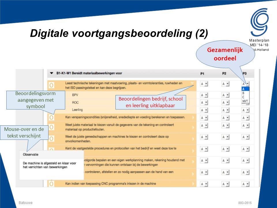 Batouwe 880-0515 Masterplan MEI '14-'18 Zuid-Holland Digitale voortgangsbeoordeling (2) Gezamenlijk oordeel Beoordelingen bedrijf, school en leerling