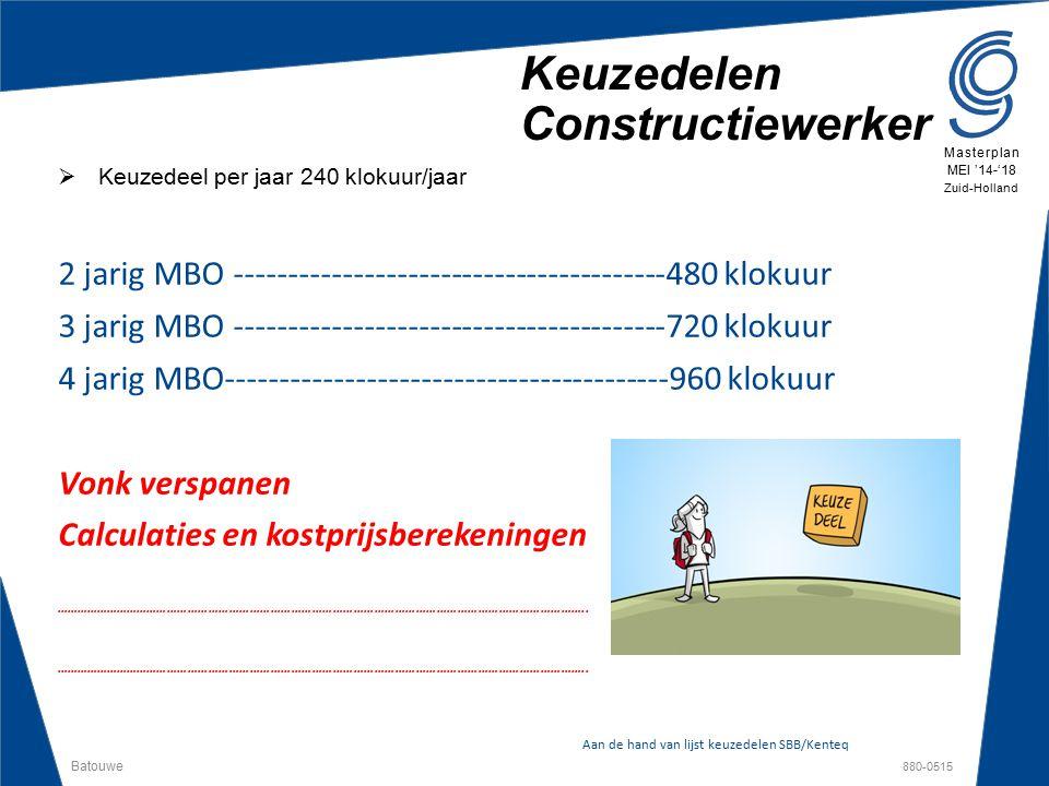 Batouwe 880-0515 Masterplan MEI '14-'18 Zuid-Holland Keuzedelen Constructiewerker  Keuzedeel per jaar 240 klokuur/jaar 2 jarig MBO ------------------