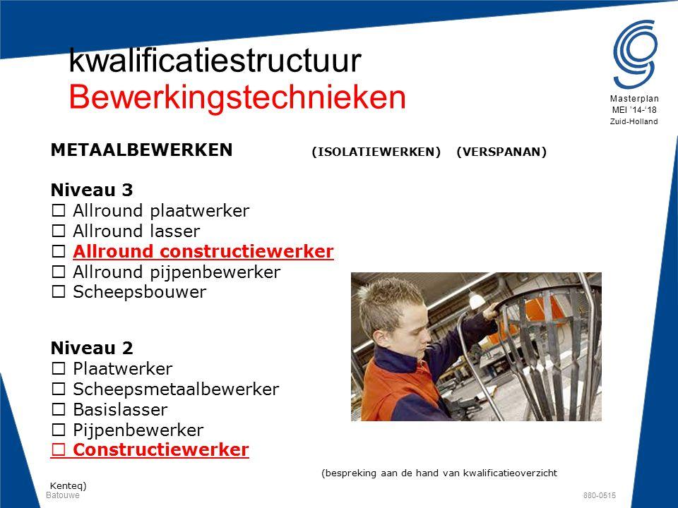 Batouwe 880-0515 Masterplan MEI '14-'18 Zuid-Holland kwalificatiestructuur Bewerkingstechnieken METAALBEWERKEN (ISOLATIEWERKEN) (VERSPANAN) Niveau 3 