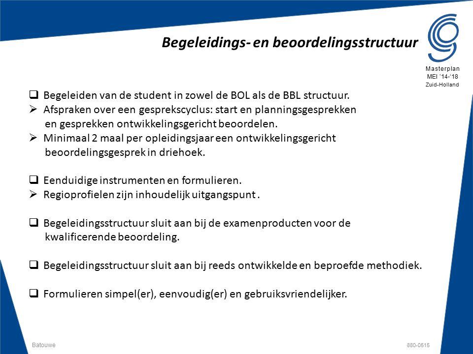 Batouwe 880-0515 Masterplan MEI '14-'18 Zuid-Holland Begeleidings- en beoordelingsstructuur  Begeleiden van de student in zowel de BOL als de BBL str