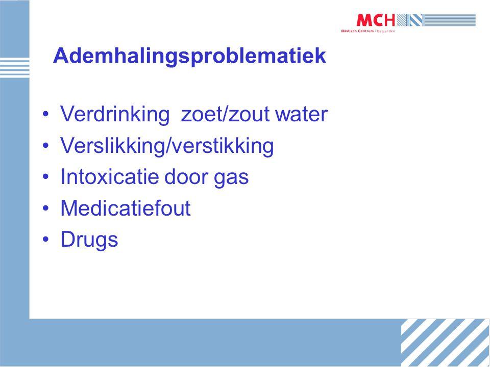 Ademhalingsproblematiek Verdrinking zoet/zout water Verslikking/verstikking Intoxicatie door gas Medicatiefout Drugs