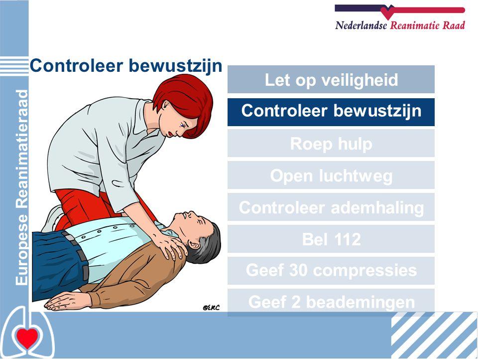 Europese Reanimatieraad Controleer bewustzijn Let op veiligheid Controleer bewustzijn Roep hulp Open luchtweg Controleer ademhaling Bel 112 Geef 30 co