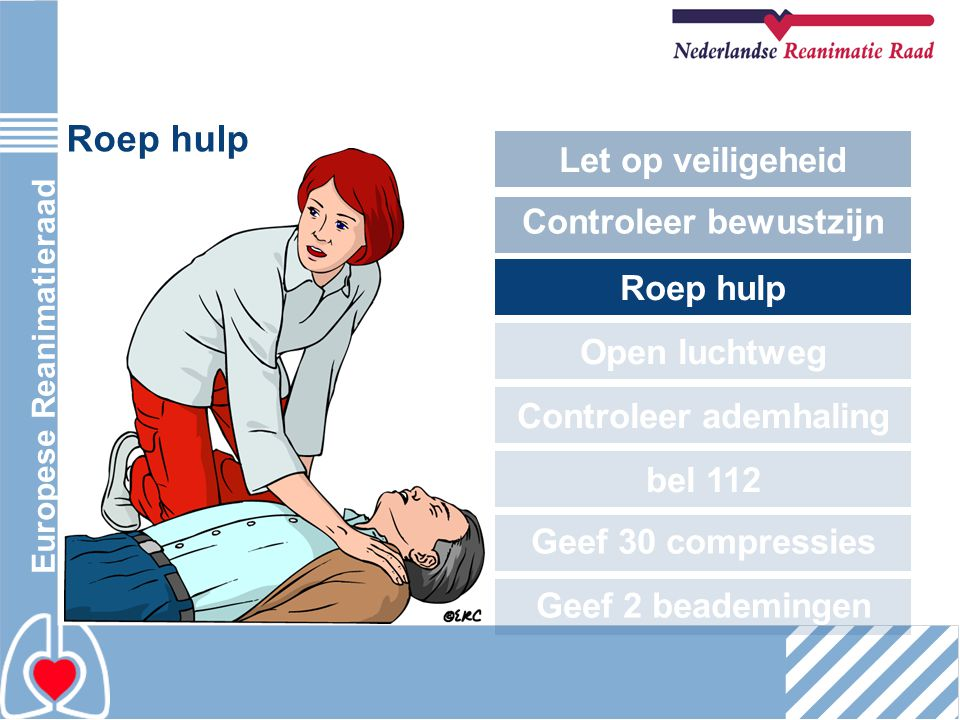 Europese Reanimatieraad Roep hulp Let op veiligeheid Controleer bewustzijn Roep hulp Open luchtweg Controleer ademhaling bel 112 Geef 30 compressies G