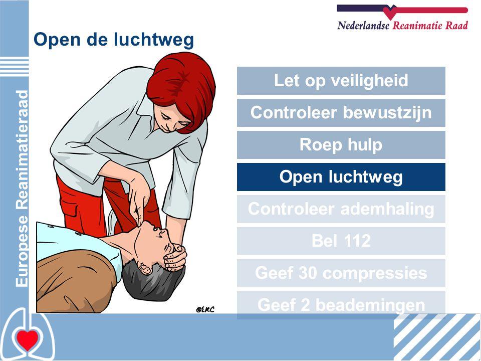 Europese Reanimatieraad Open de luchtweg Let op veiligheid Controleer bewustzijn Roep hulp Open luchtweg Controleer ademhaling Bel 112 Geef 30 compres