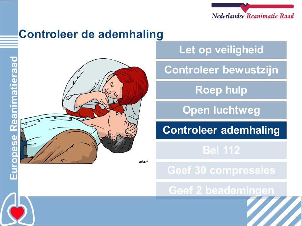 Europese Reanimatieraad Controleer de ademhaling Let op veiligheid Controleer bewustzijn Roep hulp Open luchtweg Controleer ademhaling Bel 112 Geef 30
