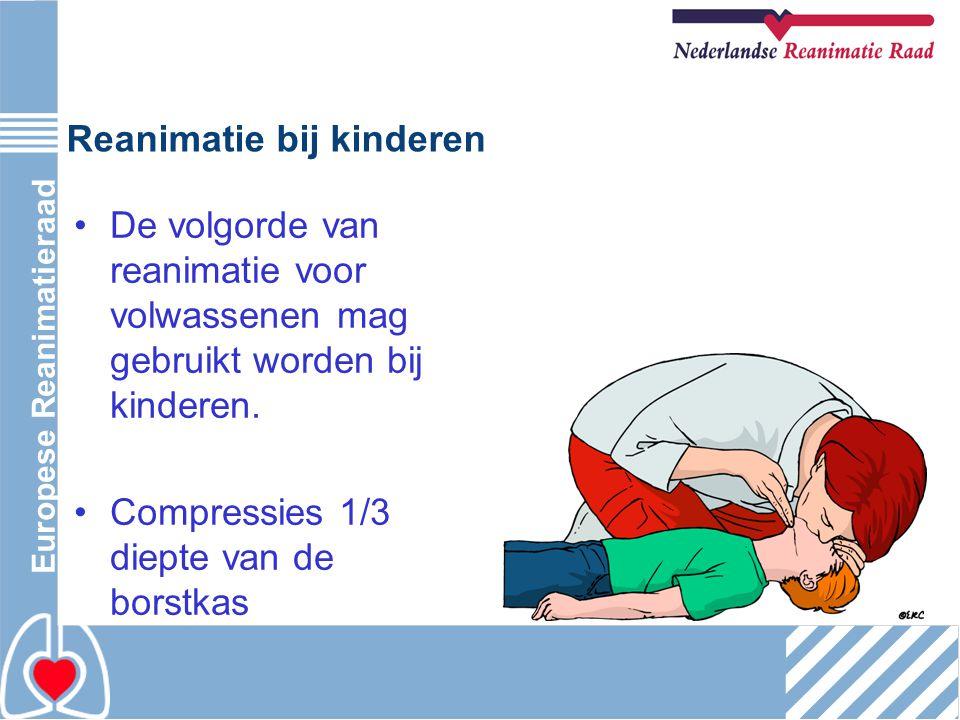 Reanimatie bij kinderen De volgorde van reanimatie voor volwassenen mag gebruikt worden bij kinderen. Compressies 1/3 diepte van de borstkas