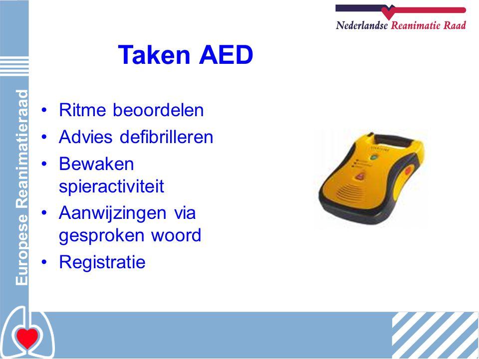 Europese Reanimatieraad Taken AED Ritme beoordelen Advies defibrilleren Bewaken spieractiviteit Aanwijzingen via gesproken woord Registratie