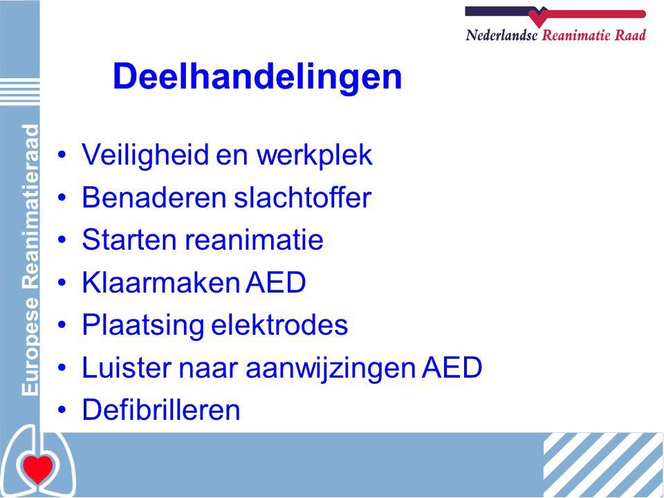 Europese Reanimatieraad Deelhandelingen Veiligheid en werkplek Benaderen slachtoffer Starten reanimatie Klaarmaken AED Plaatsing elektrodes Luister na