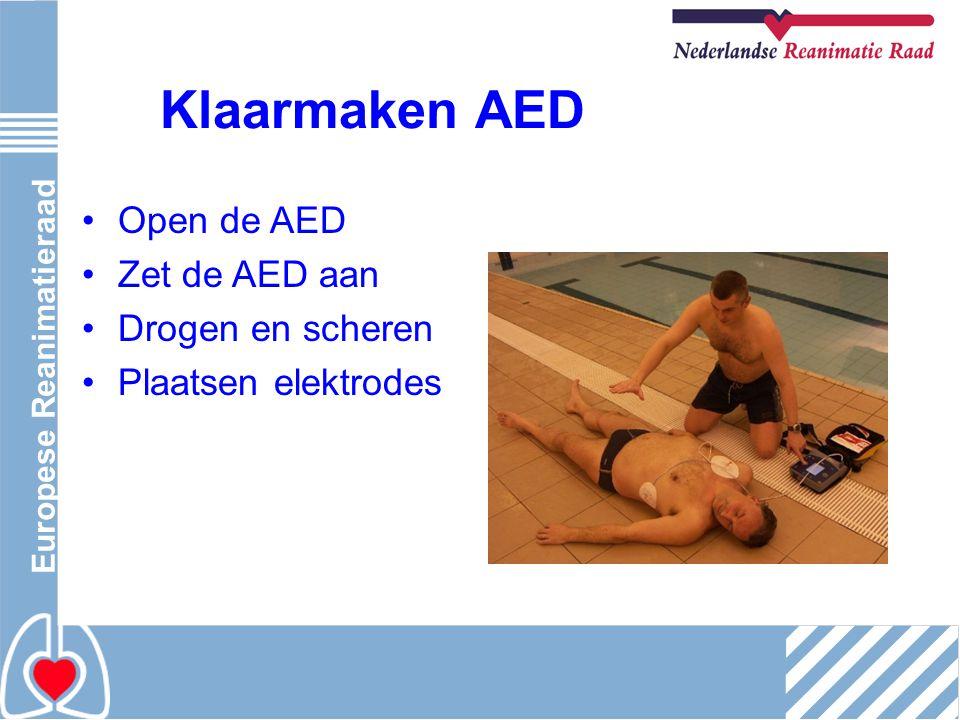 Europese Reanimatieraad Klaarmaken AED Open de AED Zet de AED aan Drogen en scheren Plaatsen elektrodes