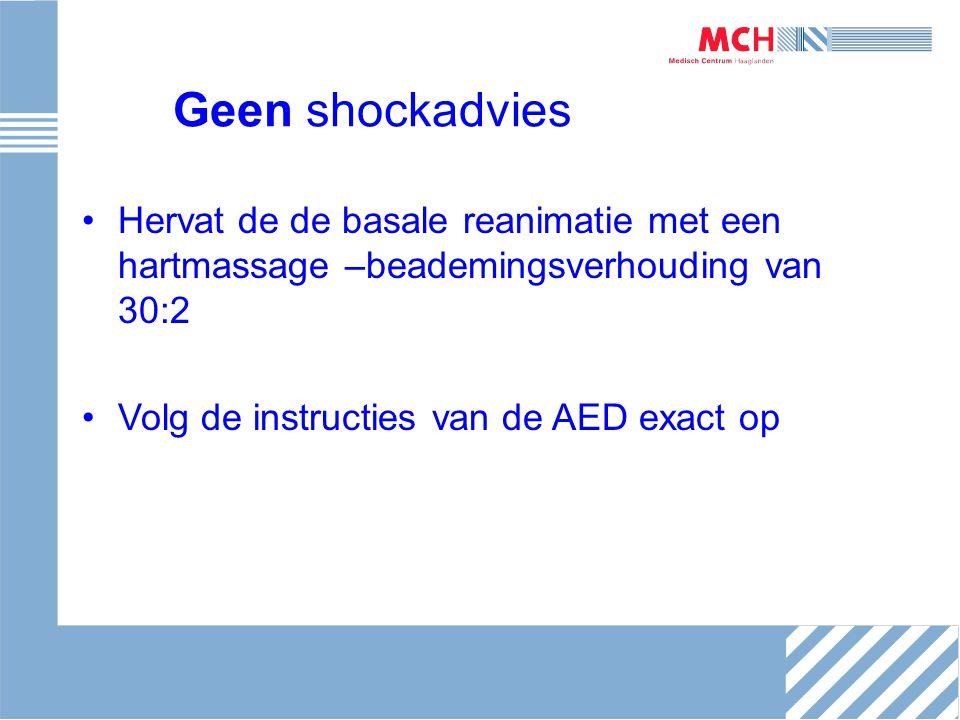 Geen shockadvies Hervat de de basale reanimatie met een hartmassage –beademingsverhouding van 30:2 Volg de instructies van de AED exact op